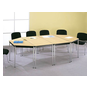 Trapezoidal table Comfort chromed undercarriage